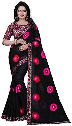 1831536da4c Shreeji Export Chanderi Cotton Saree (SD-2248-1 Black Free Size)