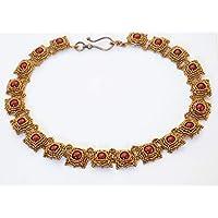 [Sponsorizzato]Collana Girocollo particolare fatto a mano con perline di vetro e Perle di conchiglia bordeaux, gioiello, bijoux donna