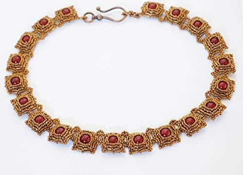 Collana Girocollo particolare fatto a mano con perline di vetro e Perle di conchiglia bordeaux, gioiello, bijoux donna
