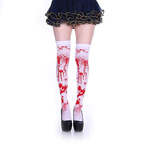 halloween kostüm strumpf frauen blut über das kniestrümpfe blutigen horror sexy krankenschwester zombie oberschenkel hohe strümpfe dress up dance party requisiten (2 pairs)