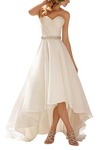 GEORGE BRIDE Einfache weisse dick Satin Schatzausschnitt Brautkleider Hochzeitskleider , Groesse 34,...