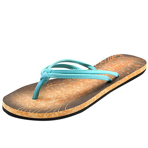 Baymate Damen Riemchen Zehentrenner Jahrgang Strand Flip Flops Sandalen Blau 39