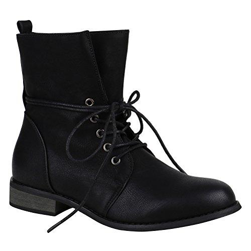 Leicht Gefütterte Damen Schuhe Stiefeletten Stiefel Schnürstiefeletten 151839 Schwarz Brooklyn 36 Flandell
