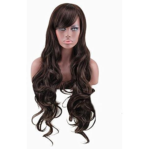 XUAN Aire de señora en pelo rizado ondulado peluca marrón