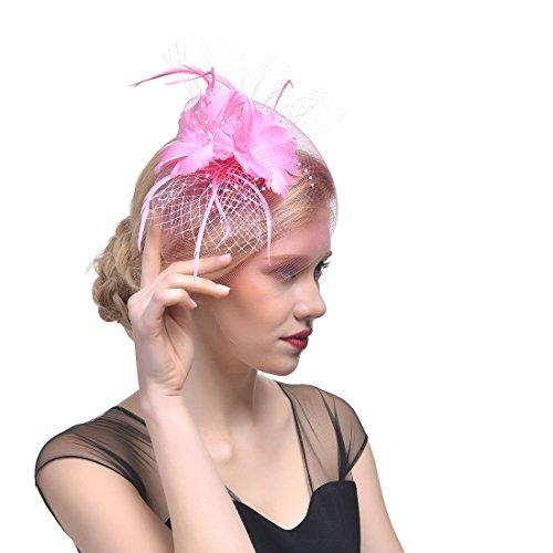 xwanli Bridal Damen Fascinator Hut Elegante Blumen Mesh Netz Schleier Feder Fascinator Haar Klipp Hut Hochzeit Cocktail