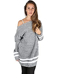 Oops Outlet Womens Ladies Chunky Cable Knitted Off The Shoulder Bardot Oversized Baggy Sweater Jumper Dress Top Plus Size UK 8-22