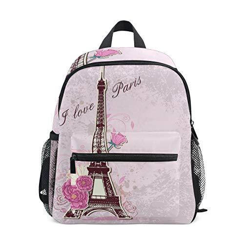 Bali Love Eiffelturm Kleinkind Rucksack Büchertasche Schulrucksack für Mädchen Jungen Kinder (Für Kleinkinder Halloween-aktivitäten)