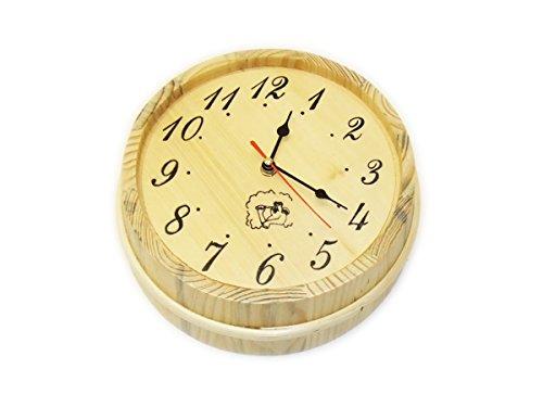 EB-Onlinehandel Sauna Uhr in Saunakübel Optik für den Ruheraum - Saunamessgerät Holzuhr