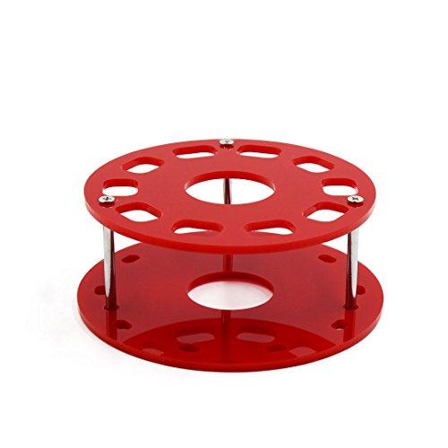 sourcing map Support de brosse acrylique de maquillage de trou de dessiccation de support de brosse de maquillage acrylique rouge de 10 trous