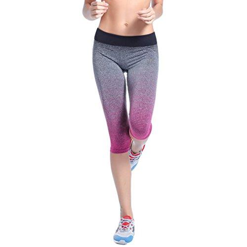 EOZY Femme 3/4 Leggings Sport Élastique Pantalon Corsaire Yoga Running Fitness Rose