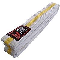 Karategürtel weiß-gelb-weiß Mittelstreifen Judogürtel Taekwondogürtel