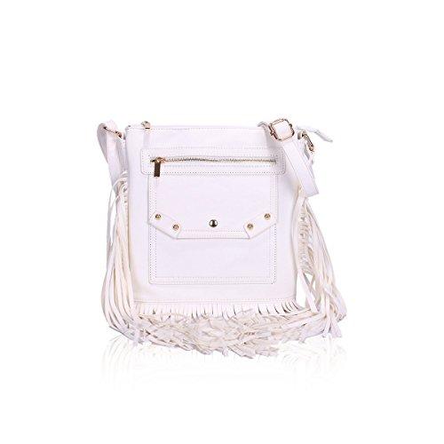 Borsa da donna Cool Girls Fashion a tracolla da donna in pelle nappa/Cross/secchio e zip Cross bag, panna White CROSS BODY BAG (GN4203)