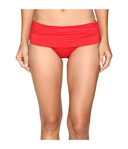 Solid Hipster Bottom (Lauren Ralph Lauren Damen Beach Club Solids breites Shirred Banded Hipster Bottom Rot 16)