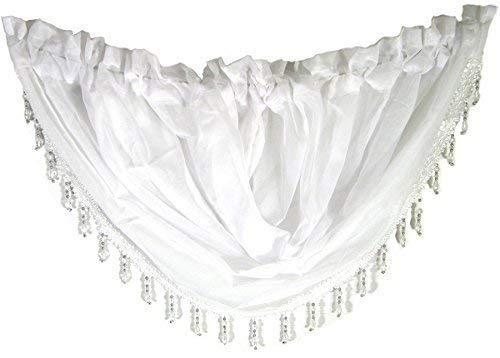 Weiß Voile Kristall Perlen Trimmen Girlande Stab Taschen Vorhang Drapierung 22x18