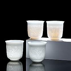 HwaGui Porzellantassen Tee-Sets für Erwachsene, lichtdurchlässige Keramik Tasse für Losen Tee oder Teebeutel, 4-er Pack