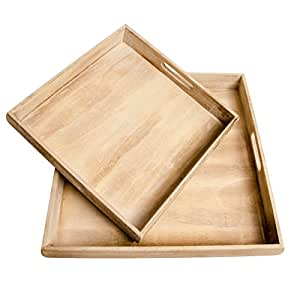 tablett quadratisch holztablett holz kerzentablett wei grau shabby dekotablett shabby braun m. Black Bedroom Furniture Sets. Home Design Ideas