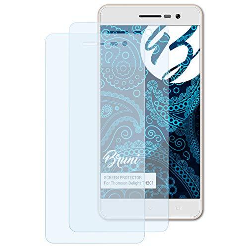 Bruni Schutzfolie kompatibel mit Thomson Delight TH201 Folie, glasklare Bildschirmschutzfolie (2X)