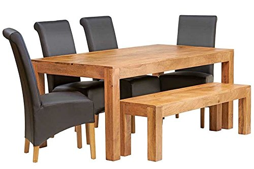 British Raj Furniture Tamil Nadu Light 6Ft Dining Set With Bench & 4 Leather Chairs