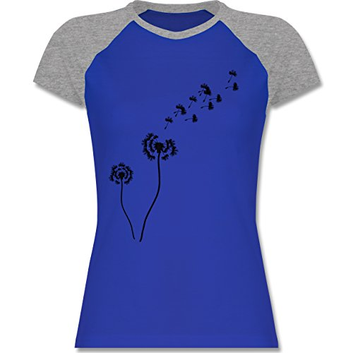 Shirtracer Statement Shirts - Pusteblume Löwenzahn - Zweifarbiges Baseballshirt/Raglan T-Shirt für Damen Royalblau/Grau meliert
