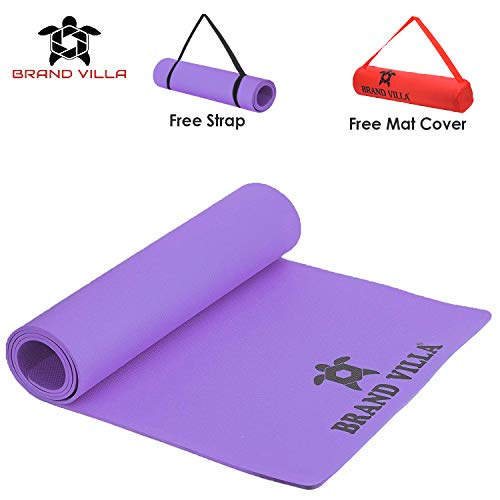 brandvilla 4mm Extra Thick Yoga and Exercise Mat with Carrying Bag Yoga Mat for Men Women (4mm,Purple)