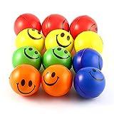 Pudincoco 12PCS Smile Face Stress Relief Spugna Schiuma di Palline Sfere di Mano Stringere la Palla Bambini Mano Adulta Esercizio Giocattolo Palle Giocattoli di Partito (5 Colori)