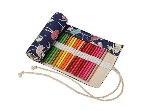 Sacchetto della matita in tela arrotolabile borsa della matite colorate portapenne astuccio scuola per studente ragazzi ragazze