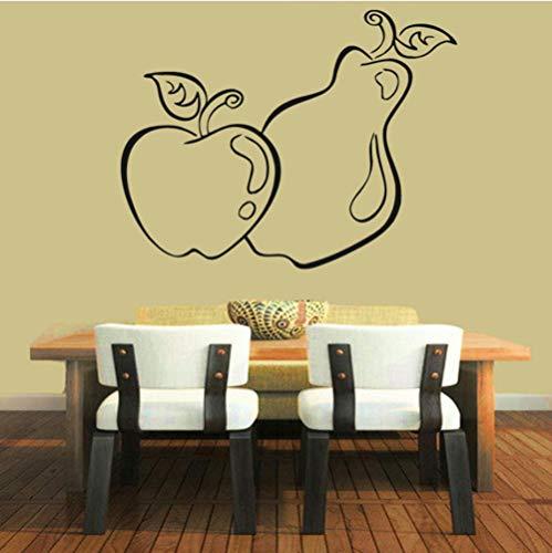 Dwqlx Obst Wandaufkleber Äpfel Birne Lebensmittel Wanddekor Abziehbilder Küche Wasserdichte Dekoration Selbstklebende 75 * 59 (Keine Halloween Birne)