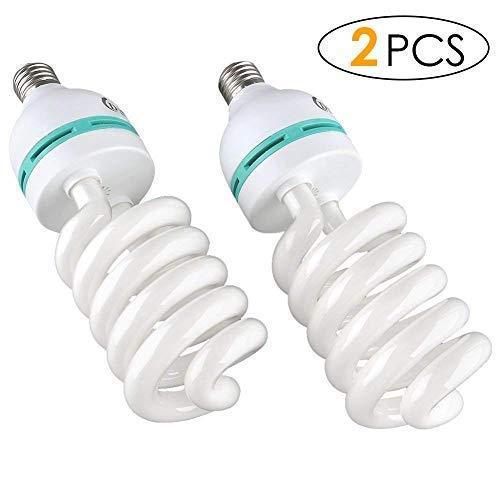 DECKEY 2x135W 5500K 22OV Fotolampe CFL Tageslichtlampe Wärme Spirallampe E27 Birne für Fotografie Fotostudio Studiobeleuchtung