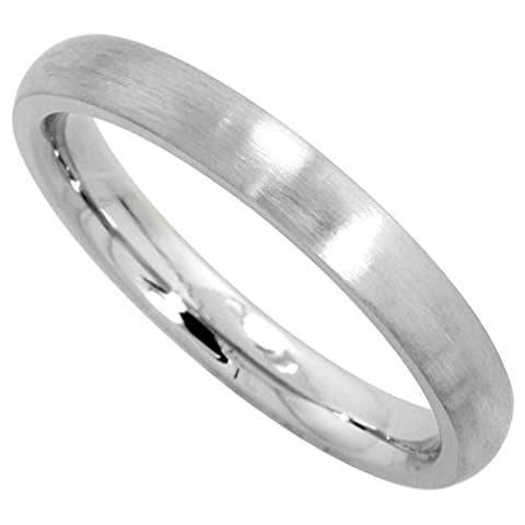 Surgical Steel 3mm Domed Comfort Fit Wedding Band Thumb / Toe Ring Matte Finish,