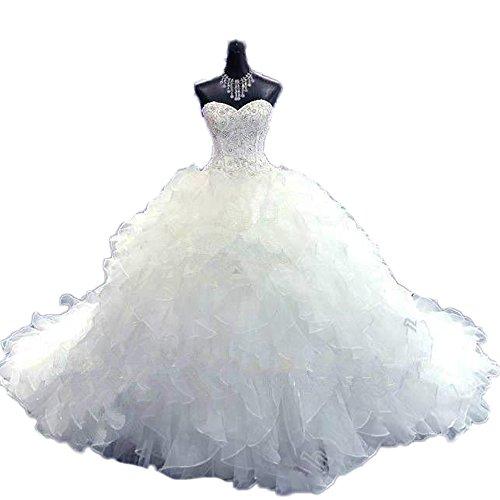 CoCogirls Luxus Wulstig Brautkleid Prinzessin-Kleid Hochzeitskleid Schatz Korsett Organza Kathedrale...