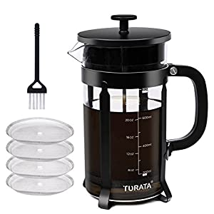 TURATA French Press Cafetiere Coffee Maker with Brush for Cleaning (1000ml, 8 Cups, 32 Oz) from TURATA