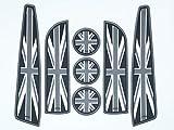 Accesorios para el interior del automóvil con la bandera del Reino Unido - Juego de 7 piezas Accesorios Mini Cooper: Esteras para autos, portavasos autos compatibles con 2007 - 2013 Mini Cooper S