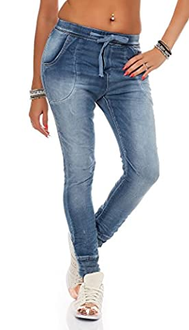 SKUTARI - Femme Pantalon Bouffant Drop Crotch Slacks , coleur: bleu , Taille: L