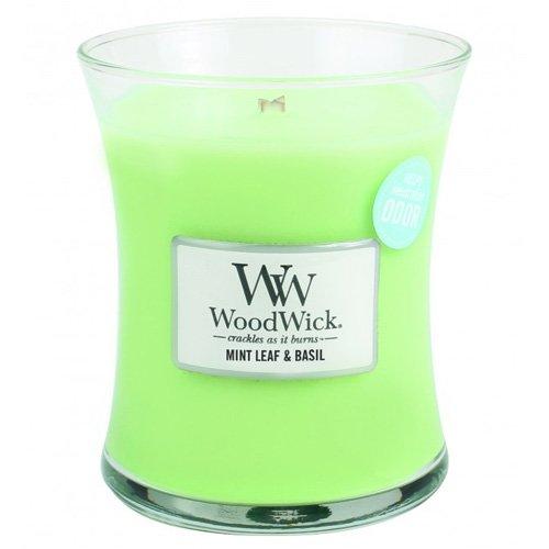 Woodwick 92076 - Hoja de Menta y albahaca Vela aromática en Tarro Medio Color Verde