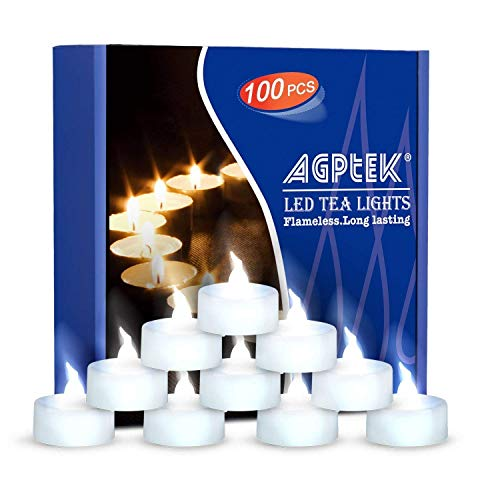 Agptek candele led lumini led 100 pz, niente sfarfallio candele senza fiamma led luce bianco freddo,per decorazione di casa camera natale partito halloween matrimoni compleanno