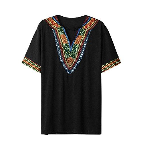 VEMOW Mode Sommer Männer Slim Fit V-Ausschnitt Gedruckt Muscle T-Shirt Beiläufige T-stücke Pullover Tops Bluse (EU-56/CN-2XL, Schwarz) (4 Stück Karo Kostüm)