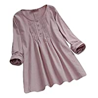 Yeirui Womens Plus Size Cotton Linen Long Sleeve Loose Fit Round Neck Blouse Tops T-Shirt Pink US XL