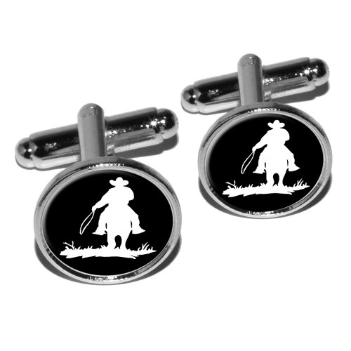 Graphics and More Cowboy–Rancher–Lasso Runde Manschettenknopf Set–Silber Cowboy-krawatte-verschluss