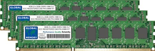 GLOBAL MEMORY 6 GB (3 x 2 GB) DDR3 1066 MHz PC3-8500 240-PIN ECC Registered DIMM (RDIMM) Arbeitsspeicher Kit für Servers/WORKSTATIONS/MAINBOARDS (3 RANK, Kit Chipkill,) -