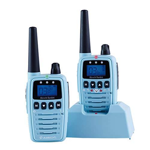Albrecht Bambini Babysitter, strahlungsarmes Babyphone mit großer Reichweite, 2 Funkgeräte, Farbe: Blau