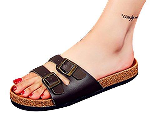 SK Studio Donna Pantofole di Sughero Bassi Sandali dei Pistoni Ragazza Scarpe da Spiaggia Marrone