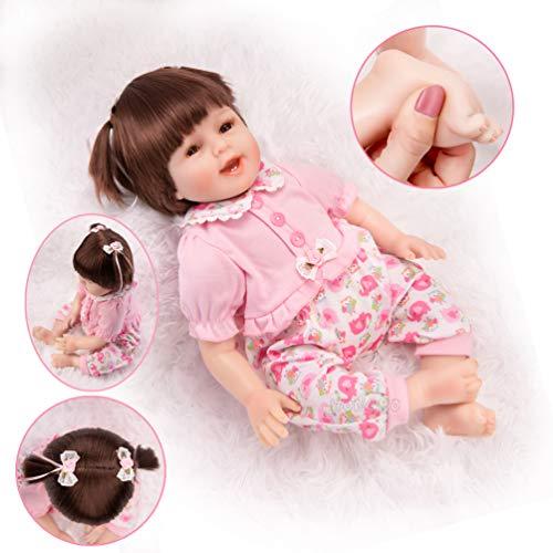 HONGRO DOLL Poupées Reborn,Bébé en Silicone réalistes et Magnifiques avec Sourire, 55cm réalistes Fille 10-Piece-Set, EN71 (22-Pink)
