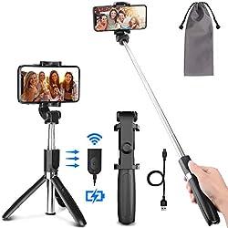 PEYOU Perche Selfie Trépied avec Télécommande Rechargeable pour iPhone,Samsung,Huawei et 3.5-6.5''Android Smartphone,360 ° Selfie Stick Monopode 3 en 1 Aluminium Extensible de Amovible Bluetooth