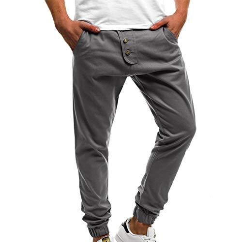 KPILP Mode für Männer Herbst Draußen Arbeit Sport Große Größe Pure Farbe Taste Lässig locker Jogginghose Kordelzug Harem-Hose(Grau, L