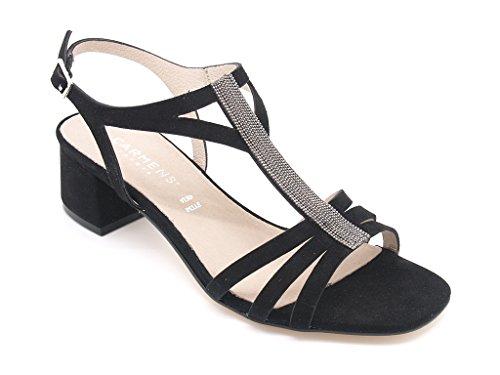 Carmens Padova sandali donna, tomaia pelle scamosciata nera con accessorio, tacco alto 4,5 cm. (EU 37)