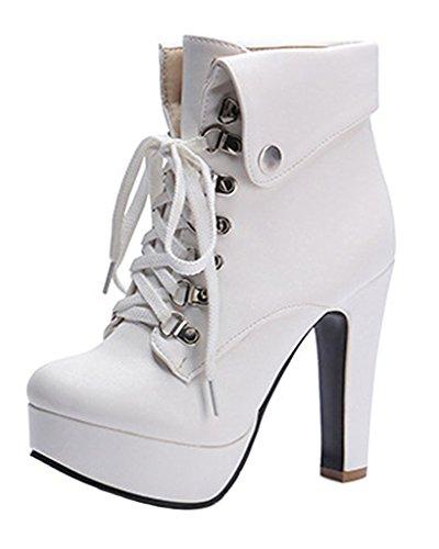 Minetom Donna Autunno Inverno Stivaletti Moda Tacco Alto Stivali Stringate Martin Boots Stiletto Scarpe Col Tacco Bianco EU 41