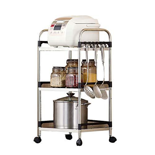 3-Tier-Küchenwagen Servierwagen Mikrowelle Stand Dienstprogrammwagen aus Edelstahl mit Rack Workstation-Regal Auf flexiblen Rädern für die Küche Esszimmer (Mikrowelle Stand Warenkorb)