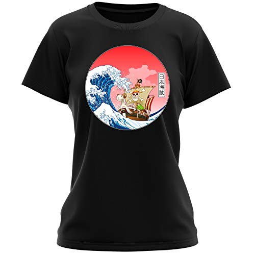 T-Shirt Femme Noir One Piece parodique La Grande Vague de Kanagawa et Le Vogue Merry : Pirates en mer du Japon. : (Parodie One Piece)