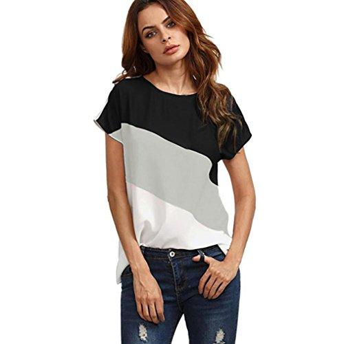 VEMOW Mutter Geschenk Tag Sommer Damen Damen Damen Mädchen Tages Farbe Block Chiffon Kurzarm Casual Bluse Shirts Tunika Tops T-Shirt(Grau, EU-46/CN-2XL)