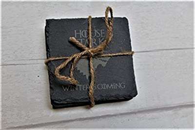 Game of Thrones Inspired Engraved Slate Coaster Set of 4 - Gift Wrapped
